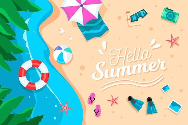 Diseño plano hola fondo de verano