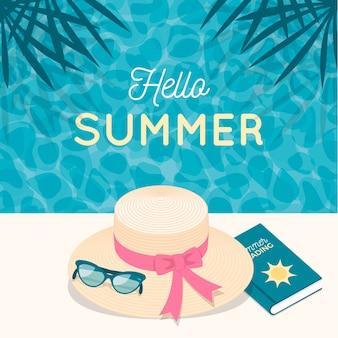 Diseño plano hola verano con sombrero de dama y libro