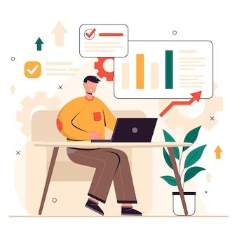 Diseño plano un hombre está analizando datos con mucha dedicación trabajando en su oficina en una computadora portátil