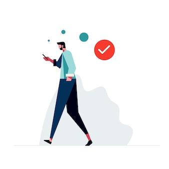 Diseño plano hombre comprobando móvil ilustraciones humanas gratuitas