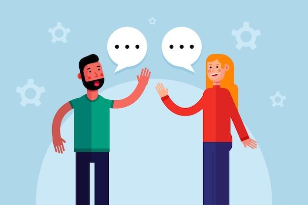 Diseño plano hombre y mujer hablando