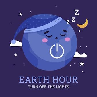 Diseño plano hora de la tierra planeta durmiendo