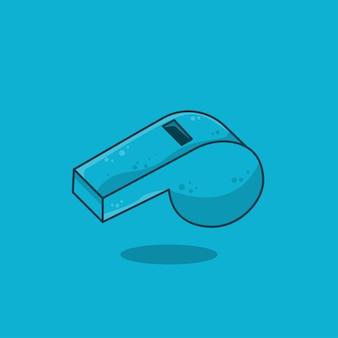 Diseño plano del icono del silbido deportivo azul, ilustración vectorial
