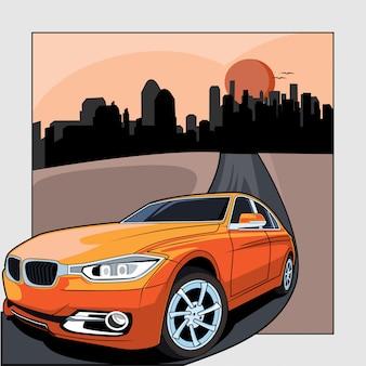Diseño plano, ilustración de automóvil