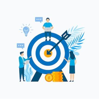 Diseño plano de ilustración de concepto de negocio con personas