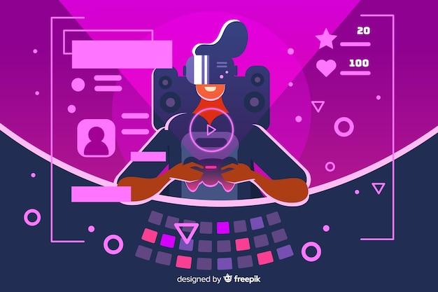 Diseño plano de ilustración decorativa de jugador