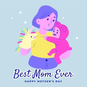 Diseño plano ilustración del día de la madre