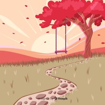 Diseño plano de ilustración de paisaje natural