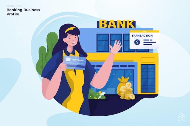 Diseño plano de la ilustración de perfil de negocio bancario