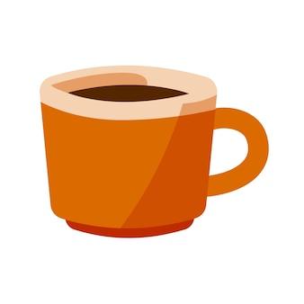 Diseño plano de la ilustración de la taza marrón aislado