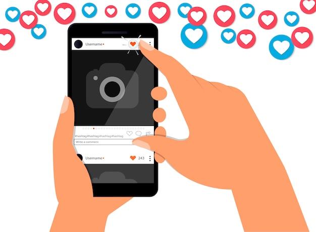 Diseño plano de ilustración de vector de concepto de éxito y apreciación de redes sociales.