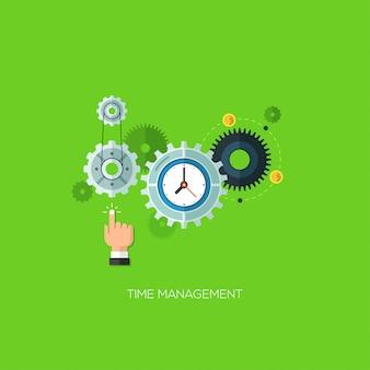 Diseño plano ilustración vectorial concepto de gestión del tiempo