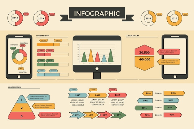 Diseño plano infografía con colores retro.