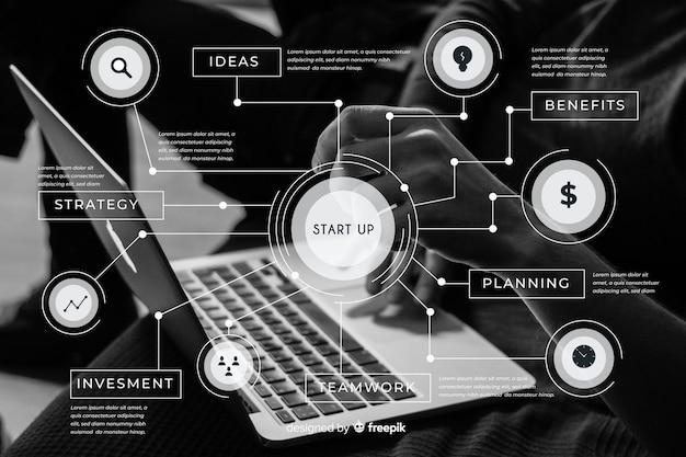 Diseño plano de infografía empresarial con foto