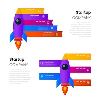 Diseño plano de infografía de inicio