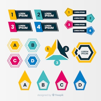 Diseño plano infografía puntos de bala