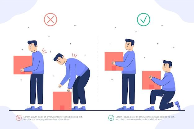 Diseño plano de infografías de corrección de postura.