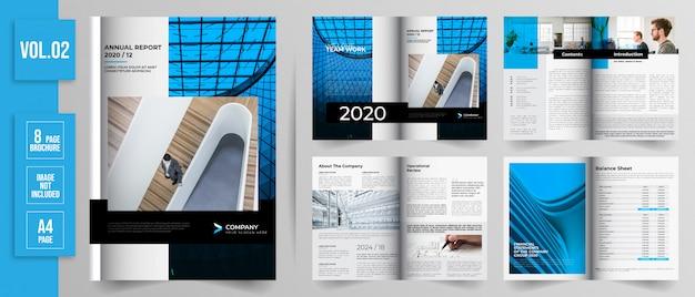 Diseño plano del informe anual de 8 páginas.