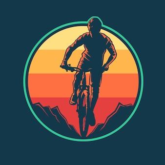 Diseño plano de insignia de bicicleta de montaña.