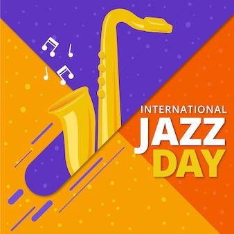 Diseño plano internacional tema del día del jazz