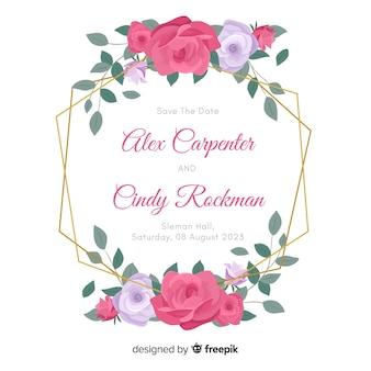 Diseño plano de invitación de boda hermoso marco floral