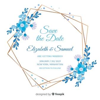 Diseño plano de invitación de boda de marco floral azul