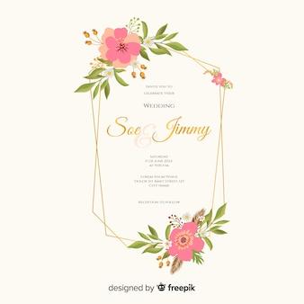 Diseño plano de invitación de boda marco floral