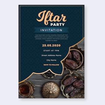 Diseño plano de invitación de fiesta de iftar