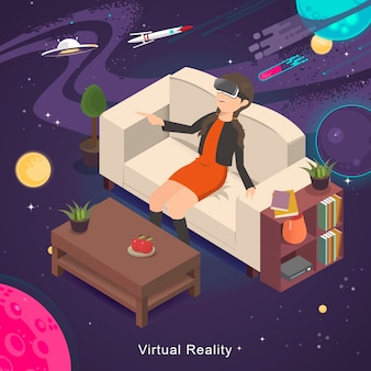 Diseño plano isométrico 3d experiencia de realidad virtual del universo