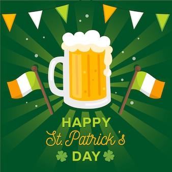 Diseño plano de jarra de cerveza artesanal para st. celebración patricks