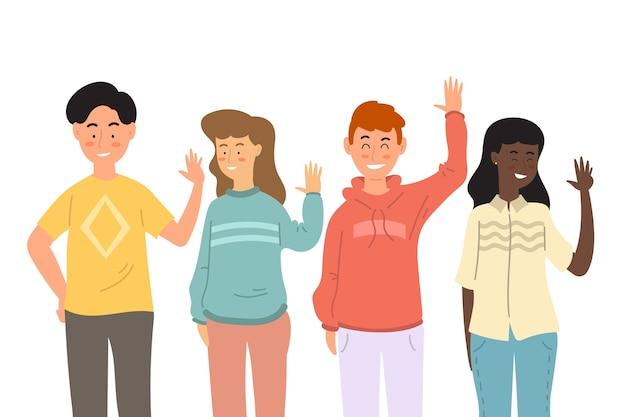 Diseño plano jóvenes agitando conjunto de mano
