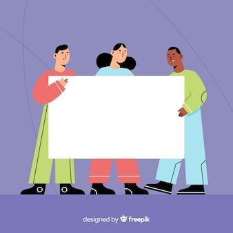 Diseño plano de jóvenes con banner en blanco.