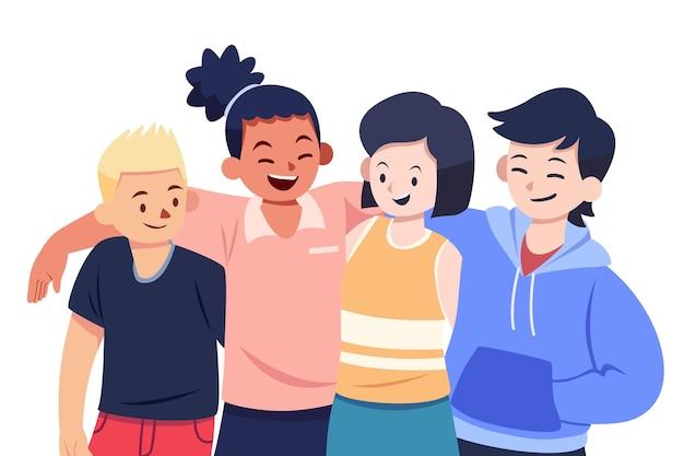 Diseño plano juventud día gente abrazando