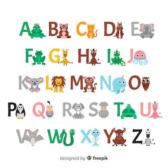 Diseño plano de letras de animales