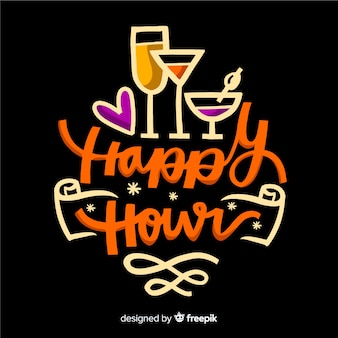 Diseño plano de letras happy hour