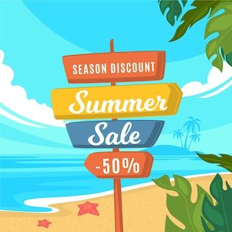 Diseño plano de letrero de venta estacional de verano