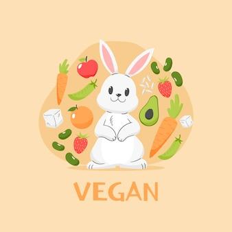 Diseño plano libre de crueldad y ilustración vegana.