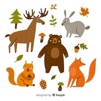 Diseño plano de linda colección animal