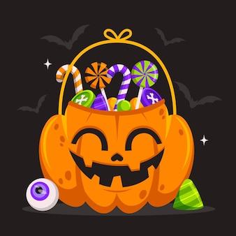 Diseño plano lindo bolso de calabaza de halloween