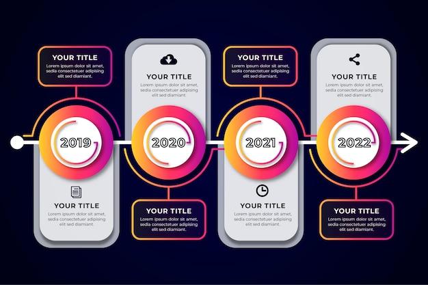 Diseño plano línea de tiempo infografía