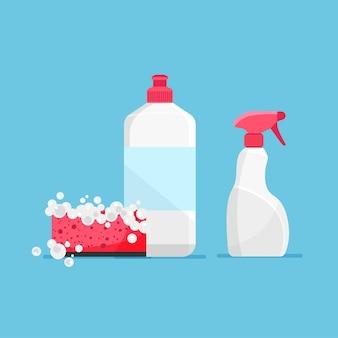 Diseño plano de líquido para lavar platos y una esponja con espuma icono de botella de detergente suministros de limpieza