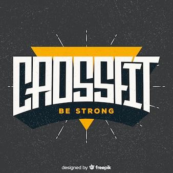Diseño plano del logo motivacional de crossfit.