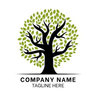Diseño plano del logo de la vida del árbol