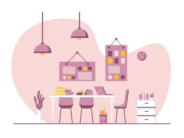 Diseño plano de lugar de trabajo y estación de trabajo, concepto de escritorio de trabajo o interior de oficina con muebles. sala de oficina moderna con computadora, mesa y equipo. trabajar desde casa ilustración.