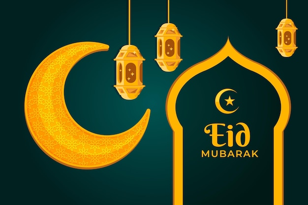 Diseño plano de luna amarilla eid mubarak