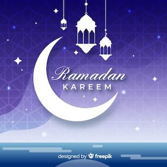 Diseño plano de la luna creciente ramadan kareem