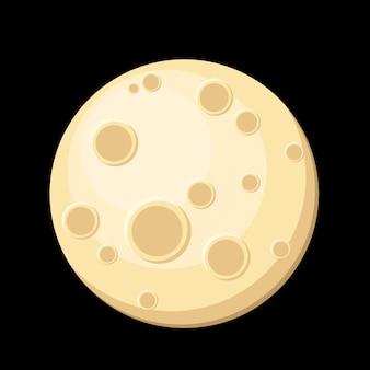 Diseño plano de la luna llena de dibujos animados.