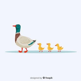 Diseño plano madre pato y patitos lindos