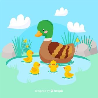 Diseño plano madre pato y sus patitos en el agua
