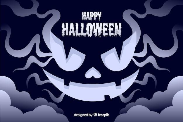 Diseño plano del malvado fondo de halloween